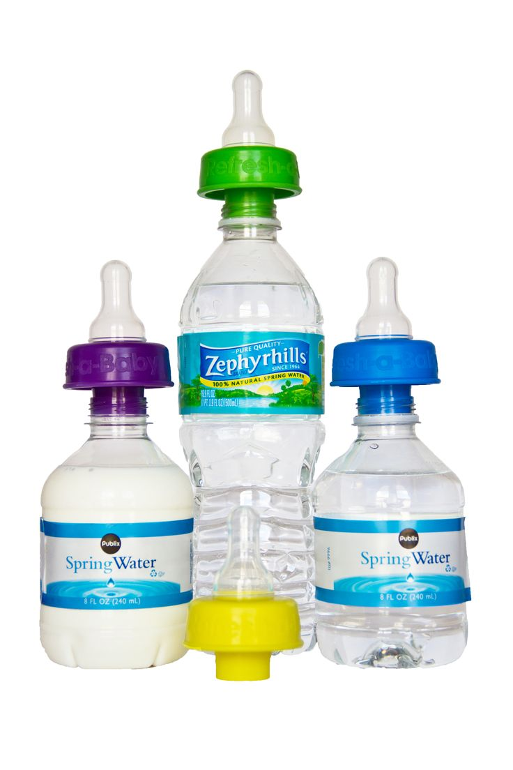 """A Diaper Bag Necessity! Refresh-a-Baby turns ordinary water bottles into baby bottles keeping baby happy anywhere, anytime making feeding time easy for moms and dads!   Simply pop the leak free Refresh-a-Baby on a water bottle of your choice, just add baby formula, and baby is ready to be hydrated. *Fits on leading """"ready-made"""" formula/juice bottles *www.refreshababy.com"""