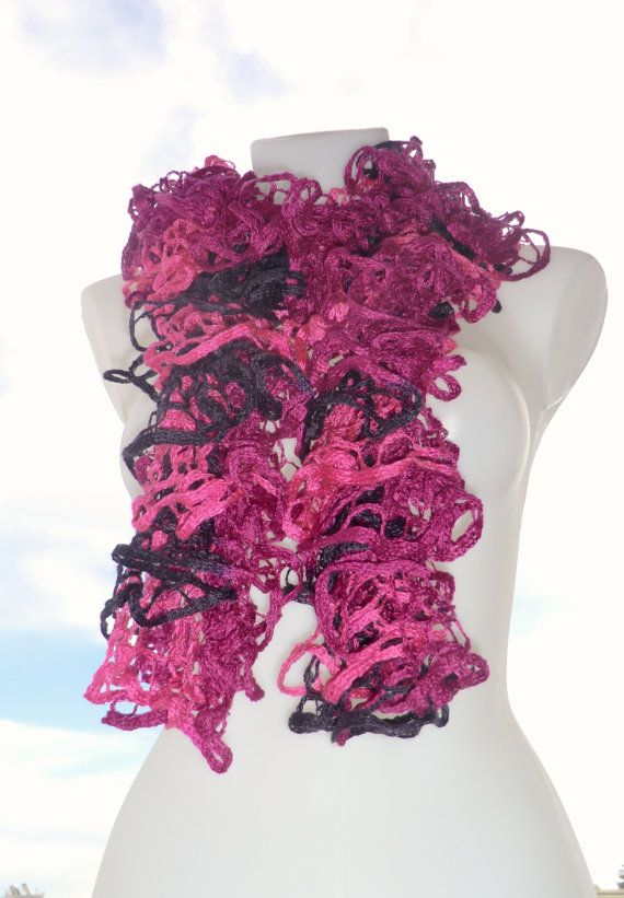 Frilly ruffled scarf fashion scarf pink and purple by craftysou, $26.00