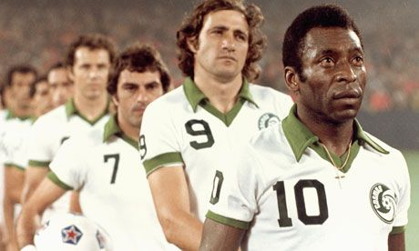 Pelé leads the New York Cosmos onto the field in their late 70s heyday. Photograph: Robert Riger/Getty Images