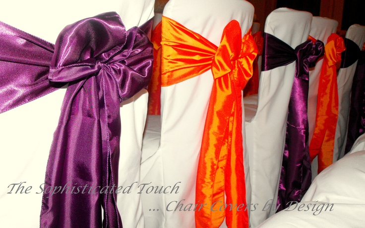 Alternating Plum and Orange Satin Bow on White Chair Covers