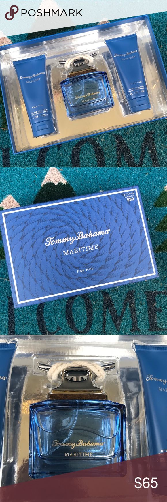 Tommy Bahama Maritime 3PC Set for Men cologne New aromatic marine scent for men:notes of bergamot, pink pepper, Clary sage, lavender and water lily to create the fresh, aquatic scent. This set includes a 4.2 ounce bottle of eau de cologne spray, 3.4 ounce hair and body wash and a 3.4 ounce after shave balm. I ship quickly and from a smoke free home. Tommy Bahama Other