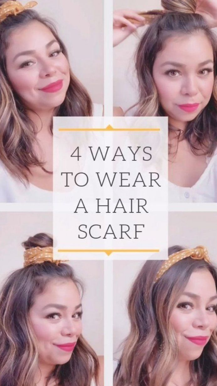 Four Different Ways To Wear A Scarf In Your Hair Using A Madewell Bandanna Scarf Easy Summer Ha Hair Scarf Styles Scarf Hairstyles Headbands Hairstyles Short