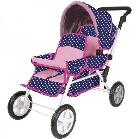 Buy the Knorrtoys Big Twin Tandem Dolls Pram from us - All Models and Colours, Very Low Price, Fast and Cheap Shipping