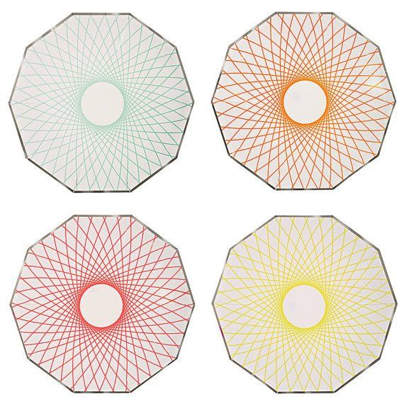 Meri Meri Neon Spiro Plates available from www.theprettybaker.co.nz  #theprettybaker #scienceparty #kidsparty #partythemes #partystyling #partysupplies #partyshop #partyblog