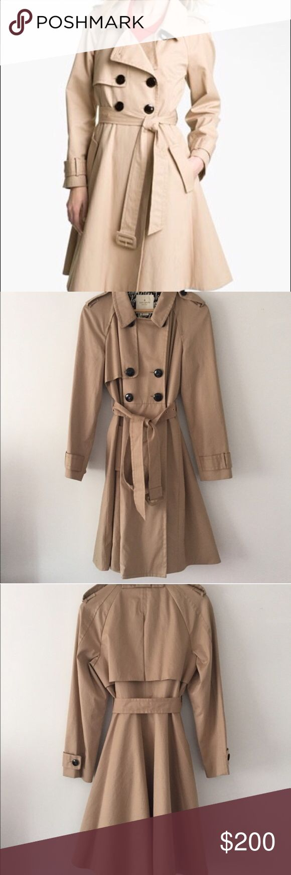 GORGEOUS kate spade trench!!! 💕💕 THE PERFECT TRENCH!!! It is seriously sooooo beautiful I just have so many trenches!!! Lol 💕💕💕 Fits beautiful on and has a full like skirt. Closes on the waist and is flattering on all body types!! BRAND NEW WITHOUT TAGS - NEVER BEEN WORN! Please feel free to ask me any questions and I am OPEN TO OFFERS but please submit them with the offer button dolls 💋🎀💕💕💕 happy poshing!!! kate spade Jackets & Coats Trench Coats