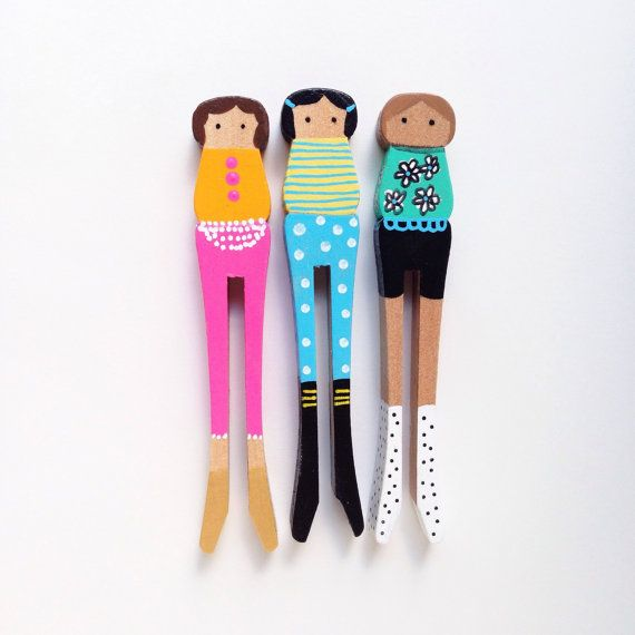 Set of Three Wooden Clothespin Dolls by TheColorfulNest on Etsy