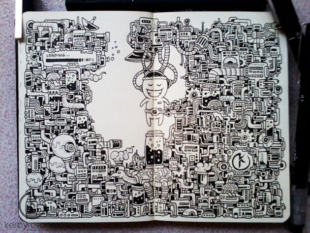 notebook doodles of Kerby Rosanes these put my margin scribbles to shame!