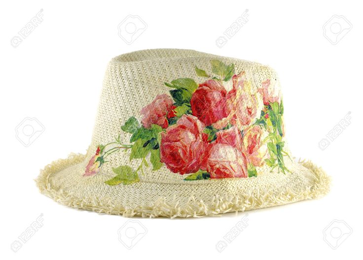 Pretty Straw Hat Decorated With Decoupage On White Background Stock Photo, Picture And Royalty Free Image. Image 24323073.