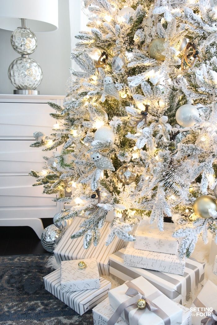 Flocked Christmas Tree White And Gold Glam Style White Flocked Christmas Tree White Christmas Trees White Christmas Tree Decorations