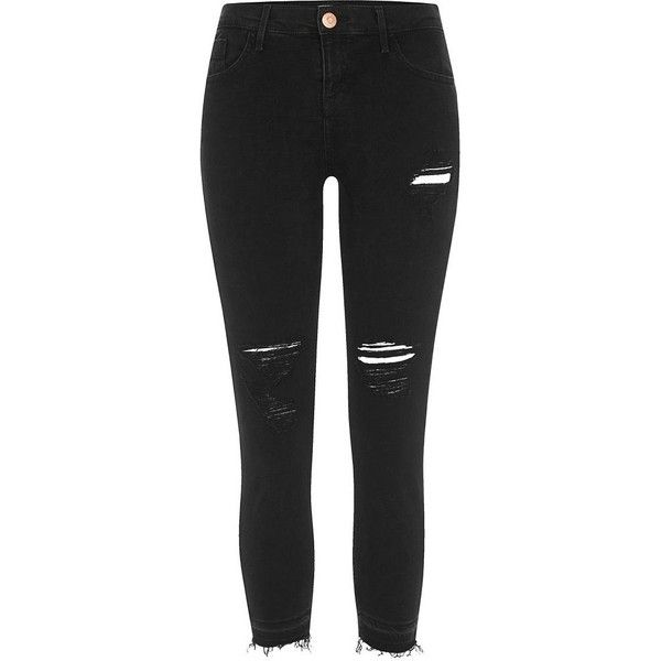 River Island Petite black Amelie ripped super skinny jeans ($90) ❤ liked on Polyvore featuring jeans, black, skinny jeans, women, distressed skinny jeans, destroyed skinny jeans, distressed jeans, denim skinny jeans and tall skinny jeans
