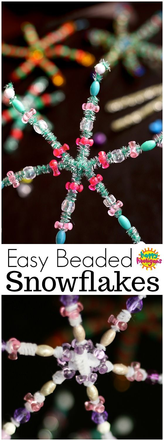 Easy bead and pipe cleaner snowflakes. Great for developing fine-motor skills, and sorting and patterning skills. Hang these pretty snowflake ornaments on the Christmas tree or in a sunny window at home or in the classroom - Happy Hooligans