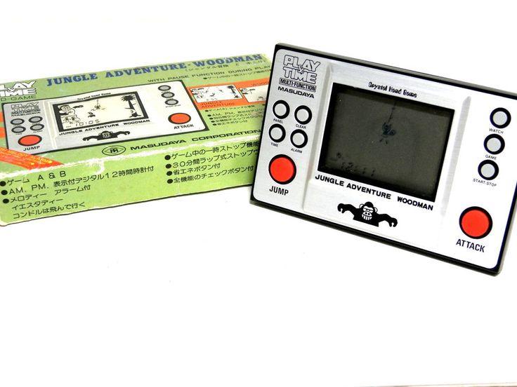 "80s Retro Masudaya LCD Game Watch ""Play & Time"" Jungle Adventure Boxed MIJ_47 #Masudaya"