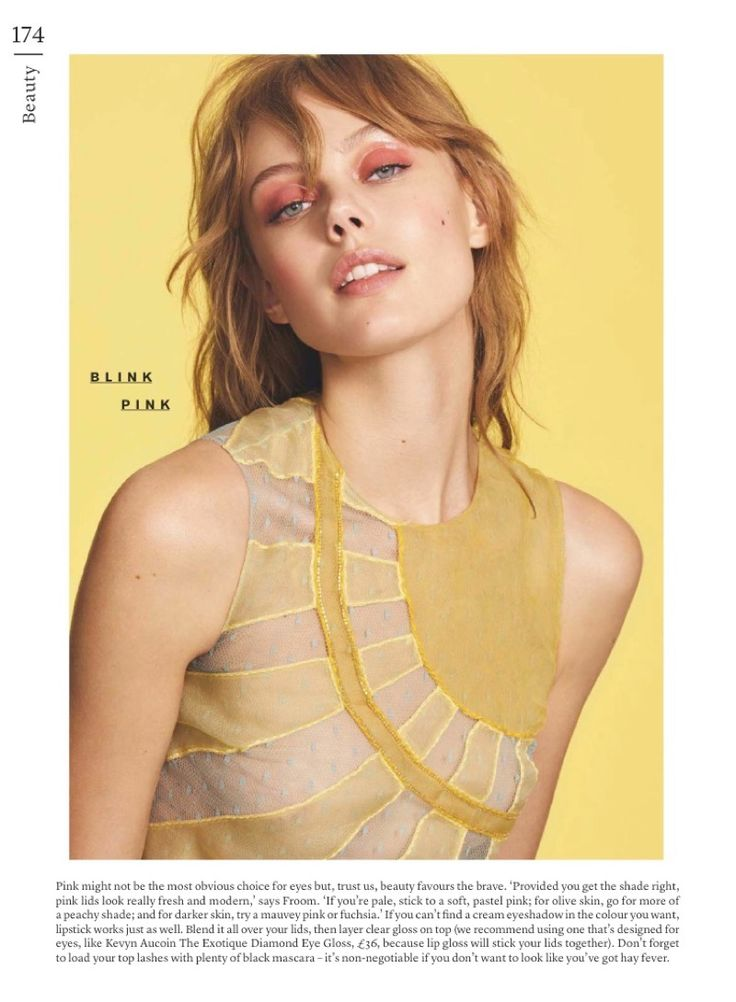 Frida Gustavsson flaunts a pink eyeshadow look