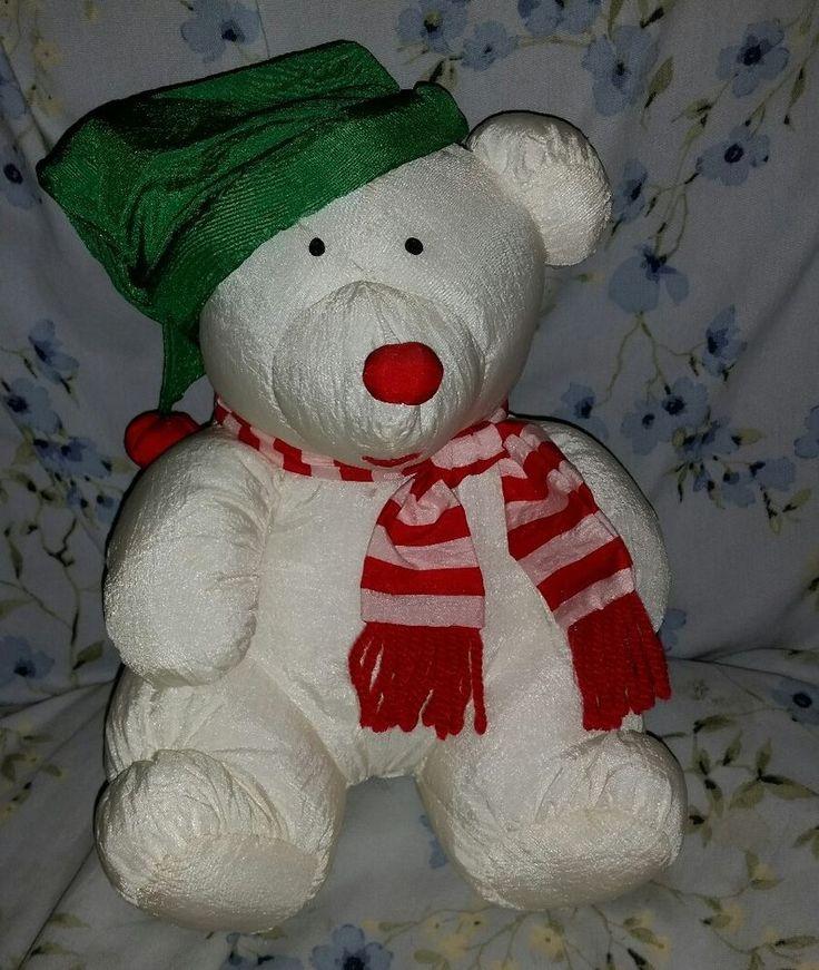 VTG JS Intl White Christmas Polar Bear Nylon Plush Stuffed Parachute Puffalump