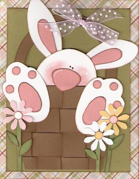 Sweet Bunny In a Basket Card...