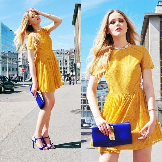 : Street Fashion, Blue Clutches, Yellow Dresses, Street Style, Colors Combinations, Kristina Sometimes, Fashion Bloggers, Electric Blue, Bold Colors