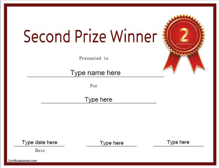Education Certificate Second Prize Winner Certificatestreet Com