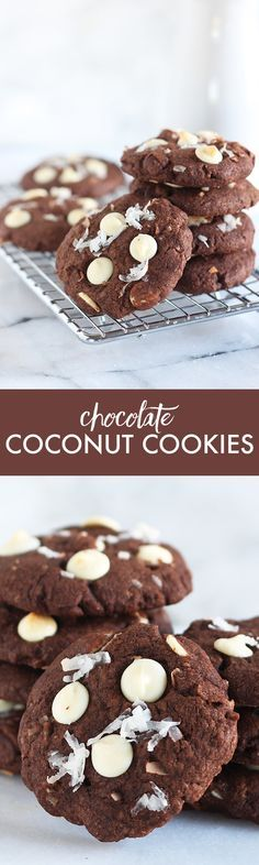 Chocolate Coconut Cookies are jam packed with that tropical and sweet coconut flavor AND three kinds of chocolate! Made in less than 30 minutes with no mixer required. Made with coconut oil instead of buter!