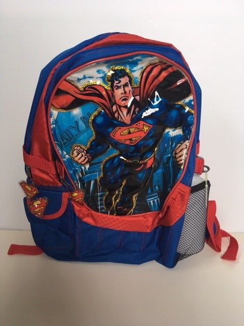 NWT SUPERMAN Red Blue Back Pack W  Water Bottle  fashion  clothing ... ba33a4dd5b83d