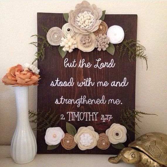 Neutral scripture sign, wood sign, felt flower sign