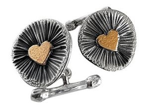 Heart cufflinks in sterling silver and gold plate - $270