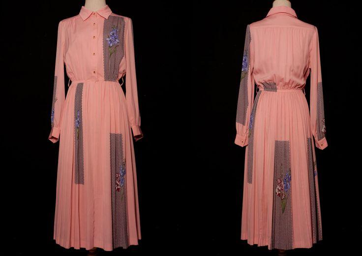 Pink Vintage floral dress,pink maxi dress,Japanese floral vintage dress,fitted dress,party dress,evening dress,orchard dress,pink floral by VintageCosmopolitan on Etsy