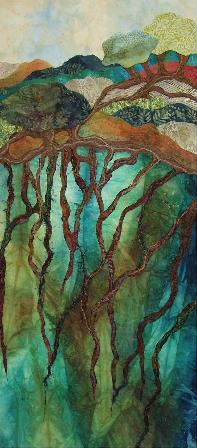 Textile art Sandy Kephart , a fabric artist, is inspired by nature conveying realism through semi-realism and abstract, adding thread, fibers and yarns in a collage fashion. aqua teal turquoise