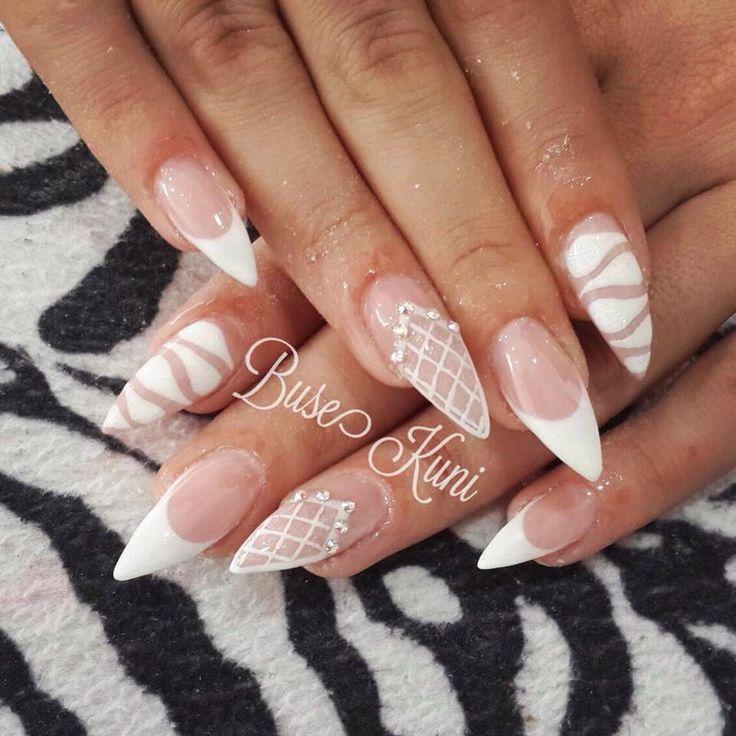 White graphic negative space stiletto nails
