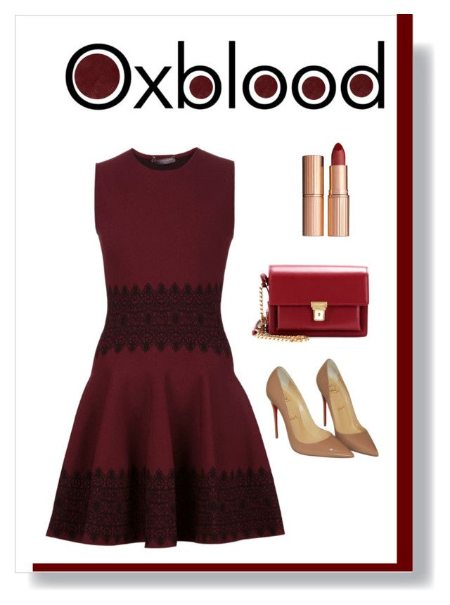"""oxblood dress"" by polychampion-805 ❤ liked on Polyvore featuring Burberry, Alexander McQueen, Christian Louboutin, Yves Saint Laurent, AlexanderMcQueen, Louboutin, oxblood and contestentry"