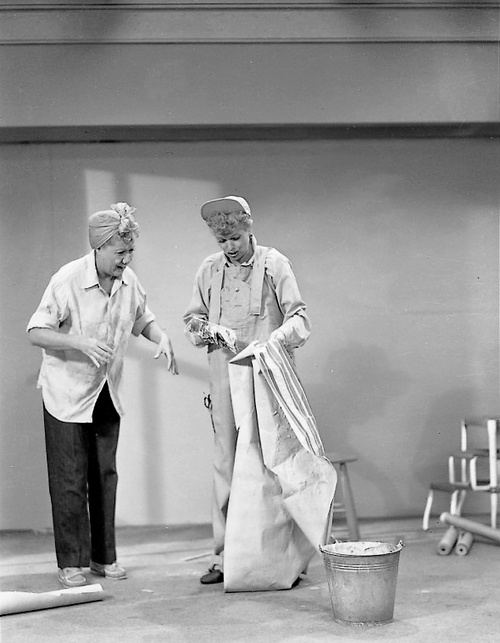 Lucille Ball & Vivian Vance  I Love Lucy production still (Redecorating)