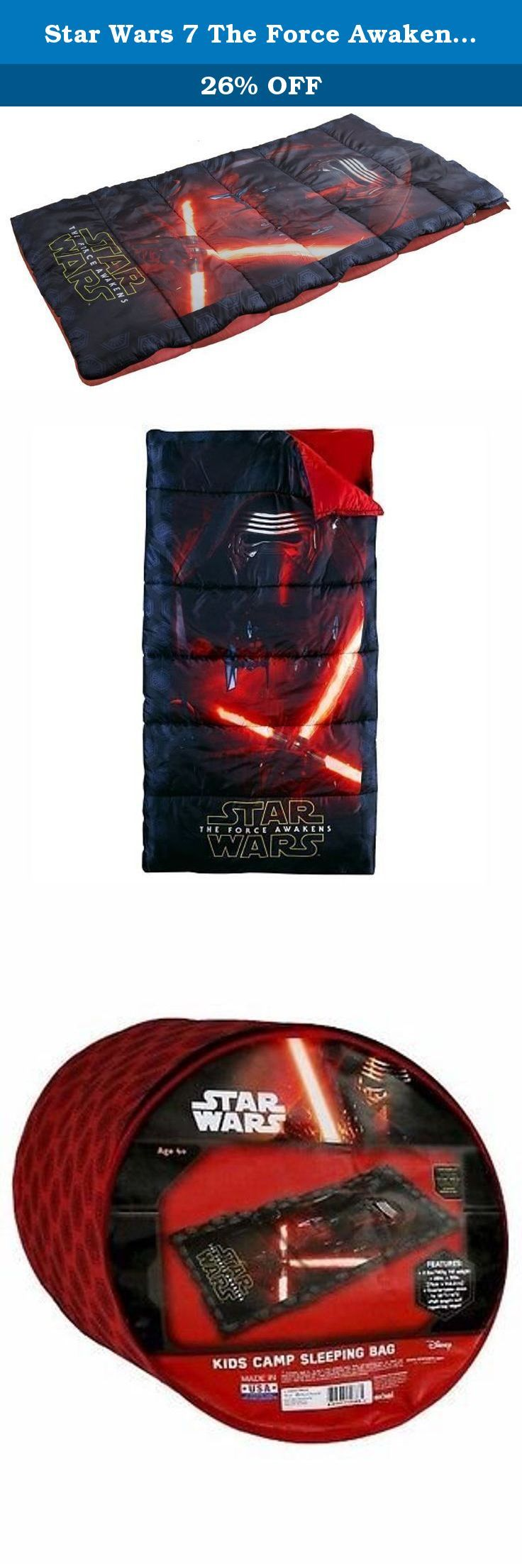 Star Wars 7 The Force Awakens kids camp sleeping bag. Dream of epic lightsaber battles with this cosmically cool Star Wars: Episode VII The Force Awakens sleeping bag. PRODUCT FEATURES Features thrilling Star Wars graphics.
