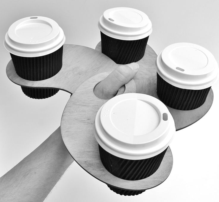 Coffee thumb coffee holders. Holding 4 coffees. Made from Certified Australian Hoop pine. By Mutating Creatures