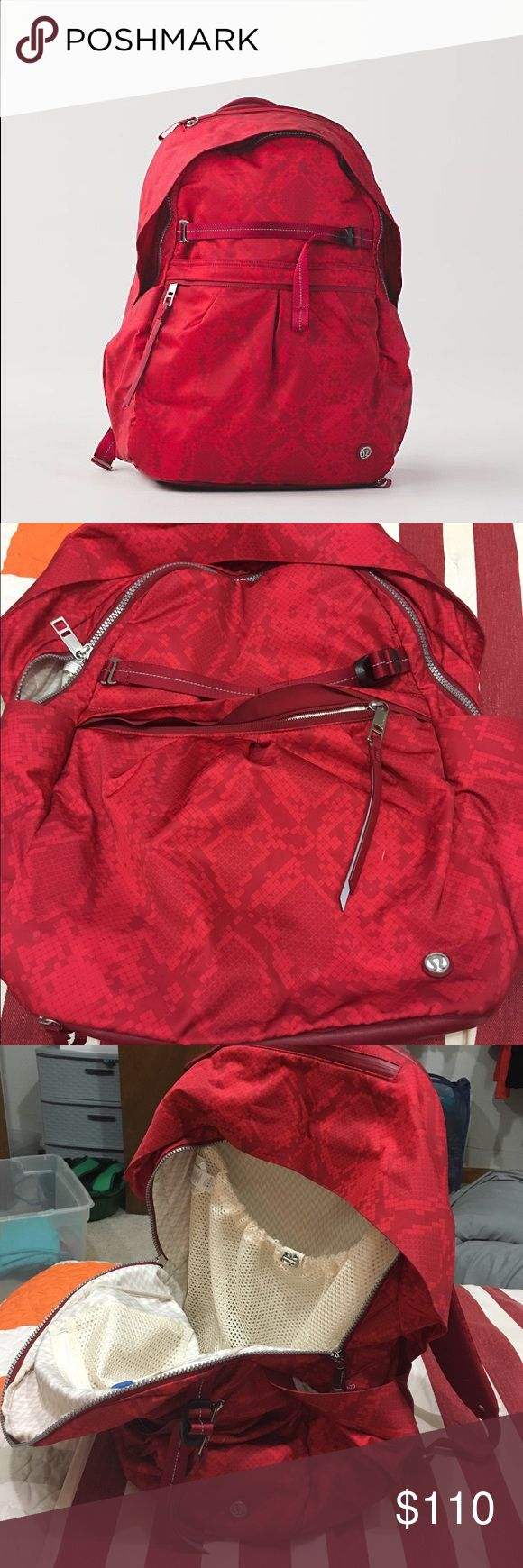 Lululemon Red Backpack Red lululemon backpack. Several pockets for all your fitness needs, including a laptop pouch! lululemon athletica Bags Backpacks
