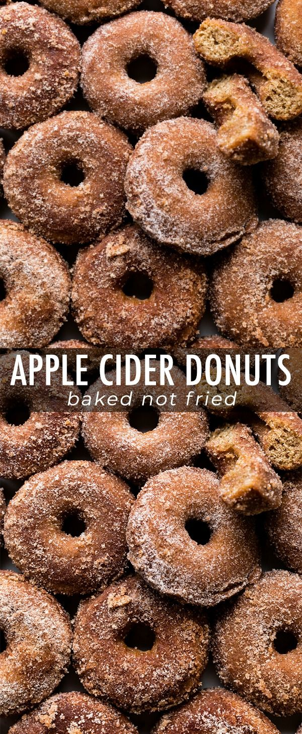Baked apple cider donuts coated in buttery apple c…