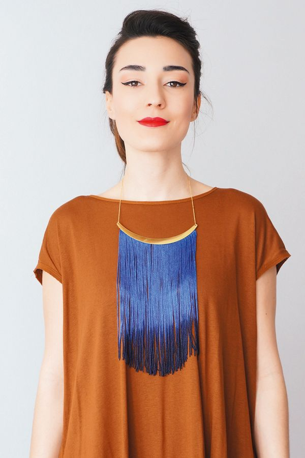 DIY electric blue fringe necklace
