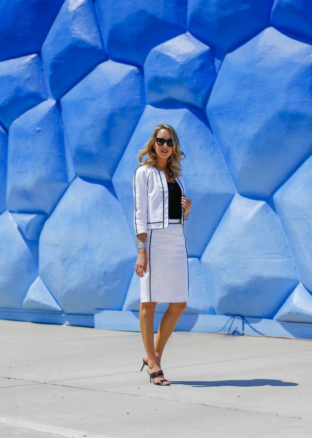 White Linen -----   Jacket: J. Crew  |  Skirt: J. Crew   |  Shell: Theory  |  Rings: Kathy Kamei , c/o Henri Bendel  |  Bracelet: old |  Sunglasses: Nina Ricci  |  Sandals: Nine West