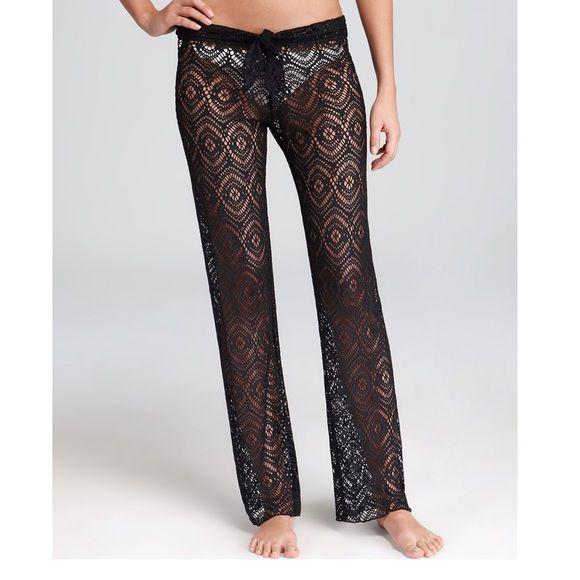 Becca Swimwear Crochet Pants Black crochet pants. NWT. Drawstring at waist. ❗️NO TRADES❗️ BECCA Swim Coverups