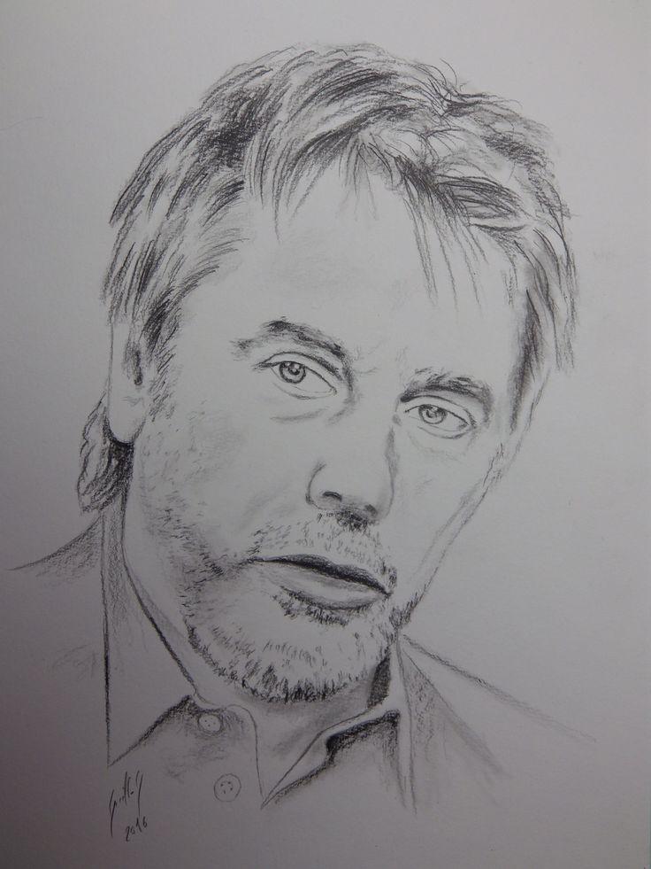 Jean Michel Jarre. Portrait au fusain