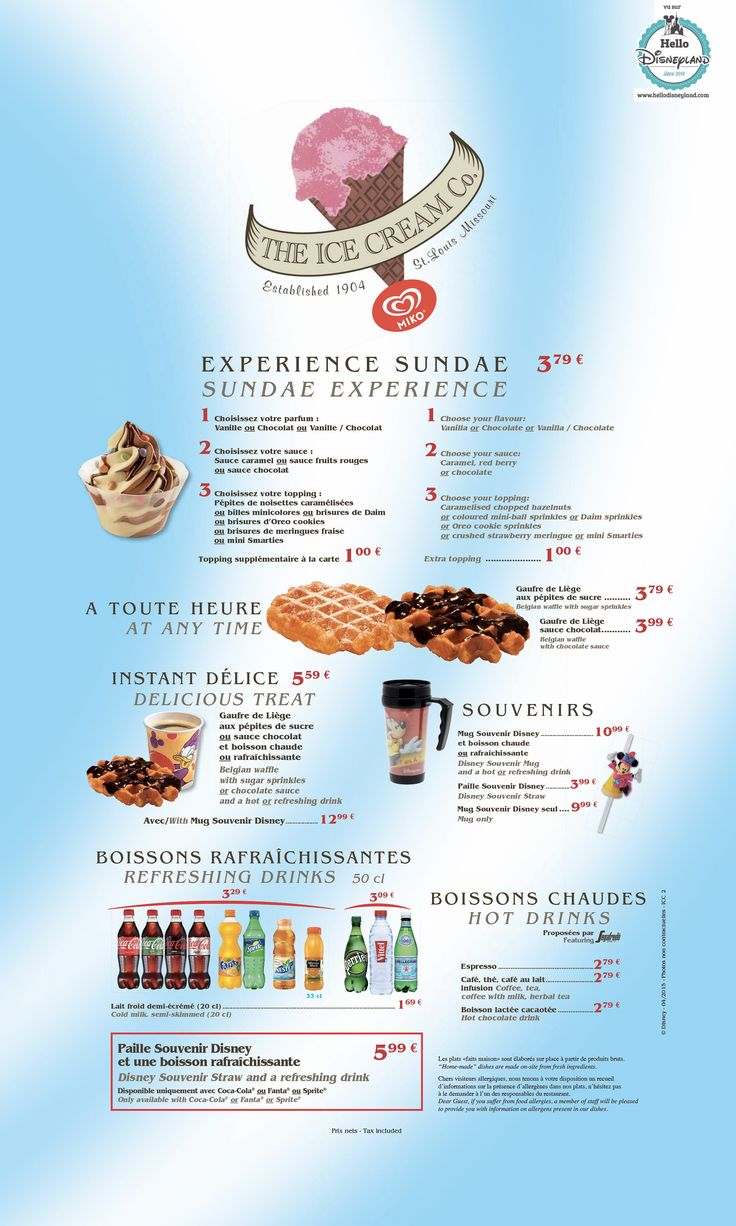menus restaurants disneyland 2015 - Blue Restaurant 2015