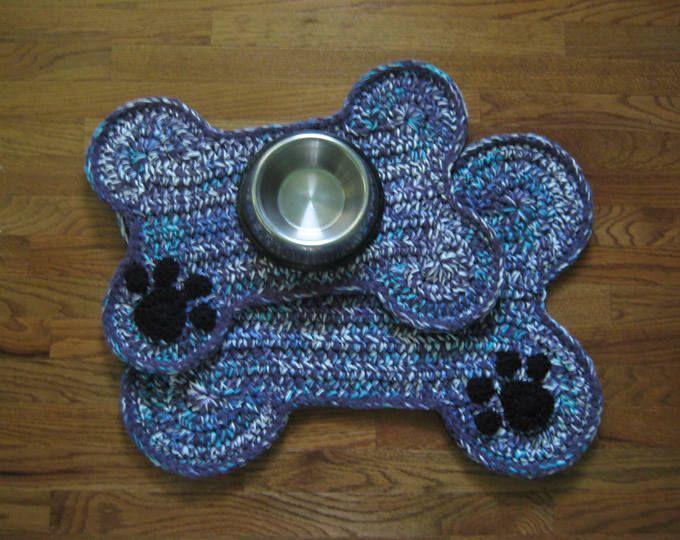 Crochet Pattern Dog Bone Placemat Pet Food Bowl Floor Mat Rug Dog Crate Mat Rug Bone Shape Mat Rug Bone Paw Print Food Mat Crochet Dog Dog Bone Placemat Rug