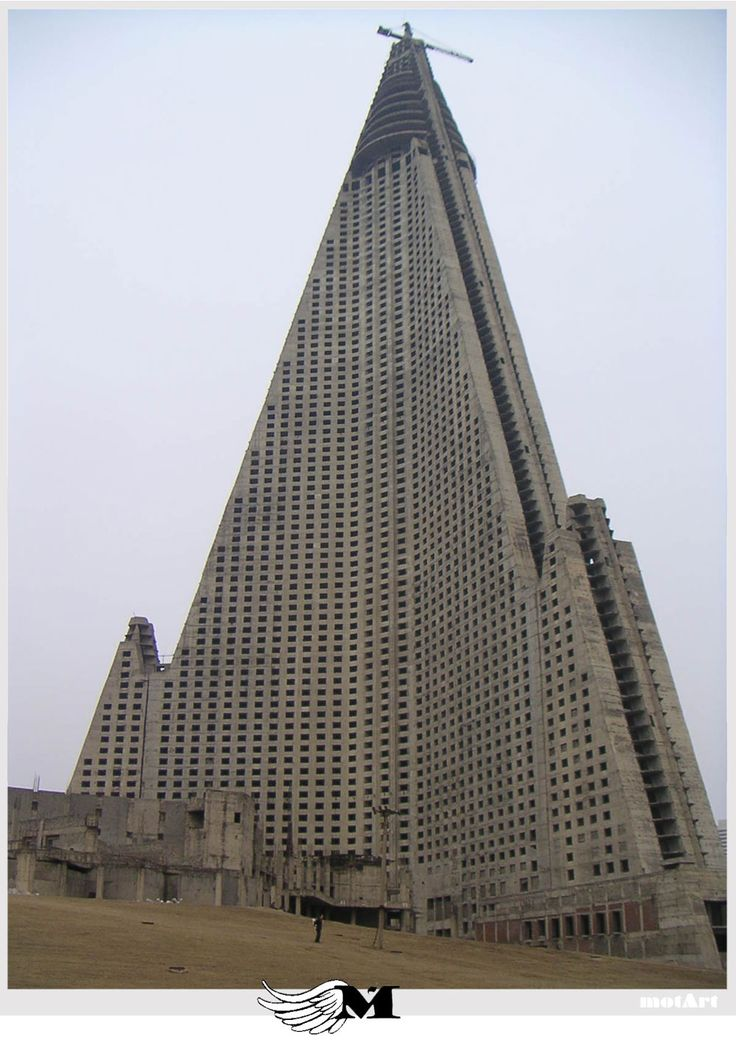 Neo-Brutalist Ryugyong Hotel in Pyongyang, North Korea...talk about claiming the land!