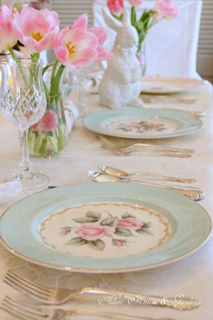 Easter Table setting using your vintage china... Aiken House & Gardens