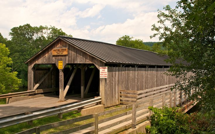 Pulp Mill Covered Bridge, Middlebury, Vermont, USA - The Pulp Mill or Paper Mill bridge was built sometime in the 1820's making it one of the oldest covered bridges in the U.S.. It's also one of only 7 remaining double barrel covered bridges.
