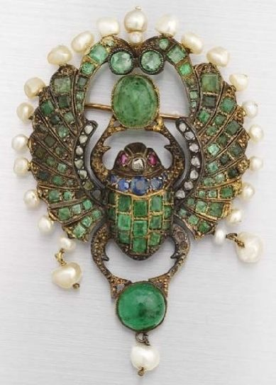 Brooch; Egyptian Revival, Gold, Inlaid Scarab, Sapphire/Emerald/Ruby/Diamond, Pearl Frame, 3 inch.