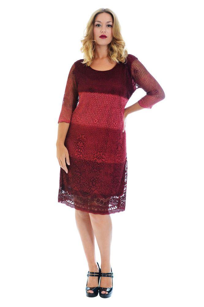 New Womens Crochet Ladies Dress Lace Lined Floral Aztec Print Nouvelle Plus Size