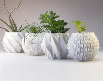 modern planter variety pack succulent pot plant pot gift set of 4 small 3d printed planters