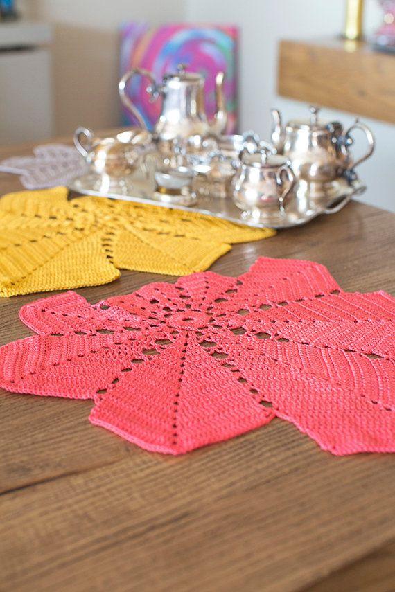 Crochet Doily Set, Crochet Table Cloth, Crochet Table Runner, Doilies Set (3), Centerpiece