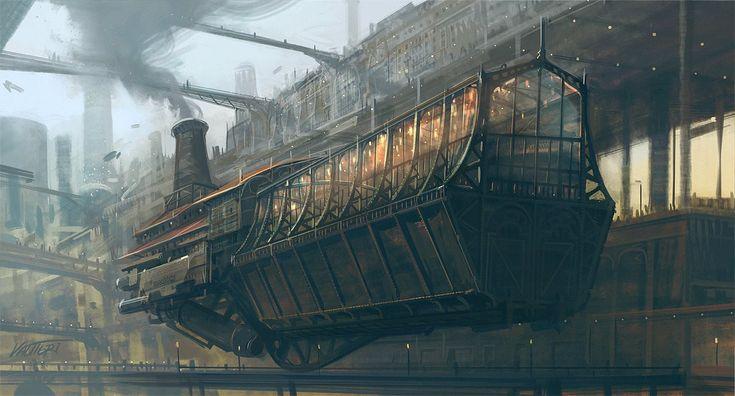 Steampunk Tendencies | Artwork by Valtteri #Illustration #Steampunk #Airship