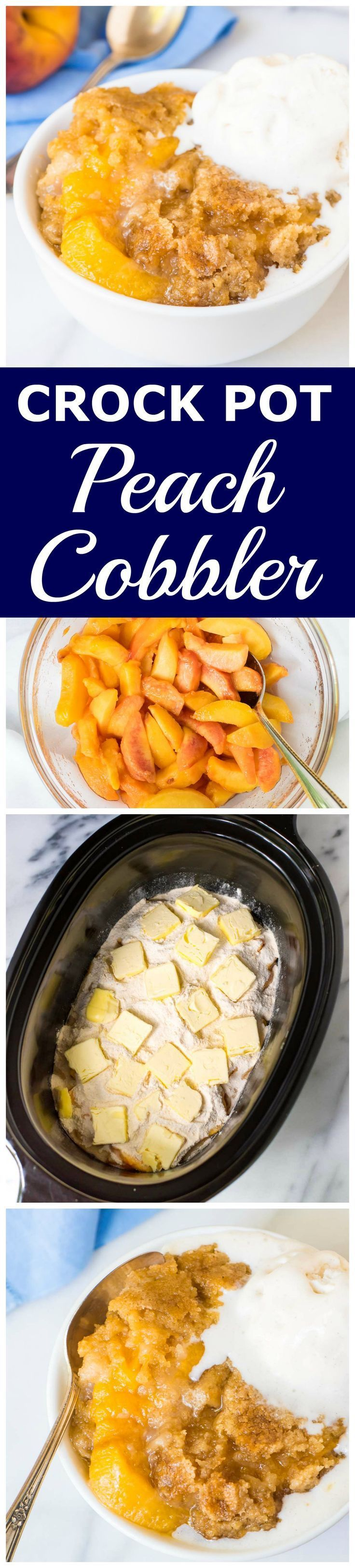 Crock Pot Peach Cobbler —  EASY recipe made like a dump cake. Just put the ingredients in your slow cooker and walk away! Juicy peaches, buttery golden crust, and your crockpot does the work. Recipe at http://wellplated.com /wellplated/
