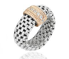 Inel argint 925 rodiat, design italian  cu o placuta -  rodiu roz  cu 2 pietre zirconia albe